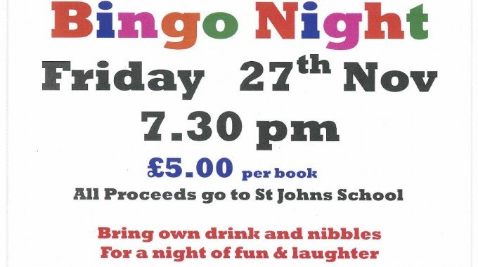 Bingo Night 27th Nov 2015 At 7.30pm