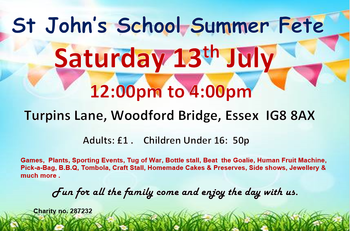 St John's Summer Fete Saturday 13th July 2019