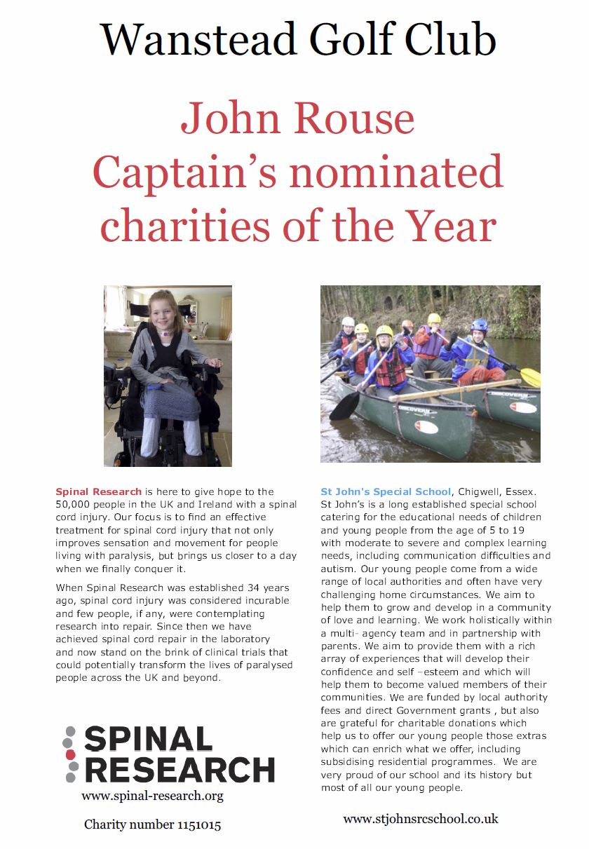Wanstead Golf Club Captain's nominated charities 2014